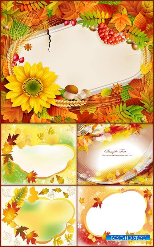 Фоны -Осенние листья и цветы