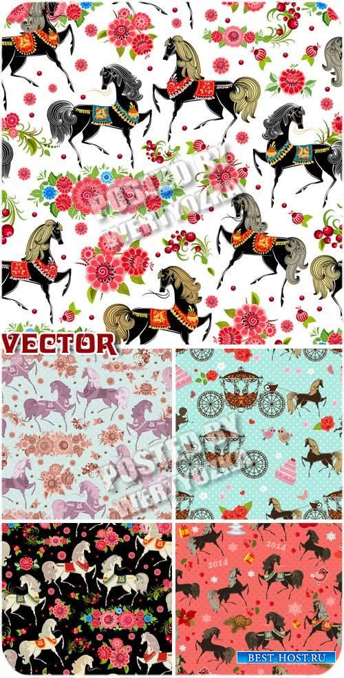 Векторные фоны с лошадками и цветами / Vector background with horses and fl ...
