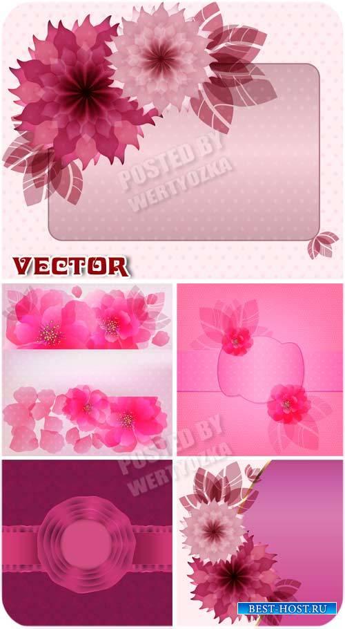 Векторные розовые фоны с красивыми цветами / Vector pink background with beautiful flowers