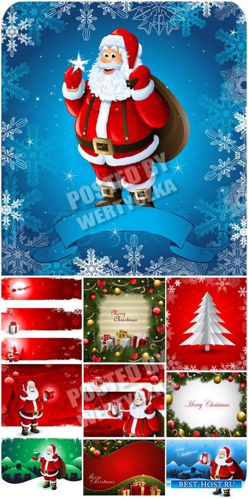 Санта Клаус и новогодние фоны / Santa Claus and Christmas backgrounds - sto ...