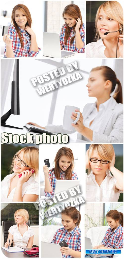 Девушки работают в офисе / Girls are working in the office - stock photos