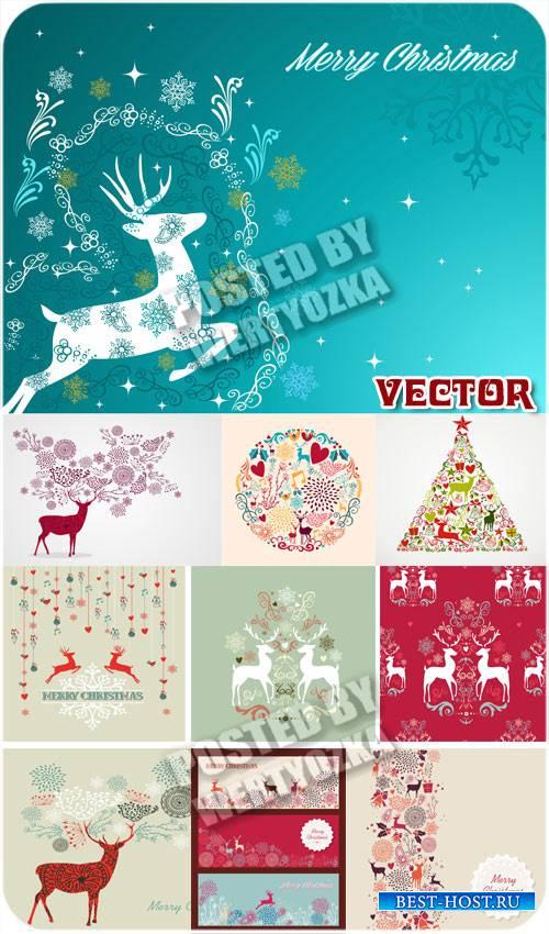 Винтажные новогодние фоны с оленями / Vintage Christmas background - vector stock