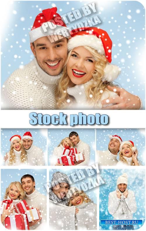 Зимняя пара, мужчина и женщина зимой / Winter couple, man and woman in winter - stock photos