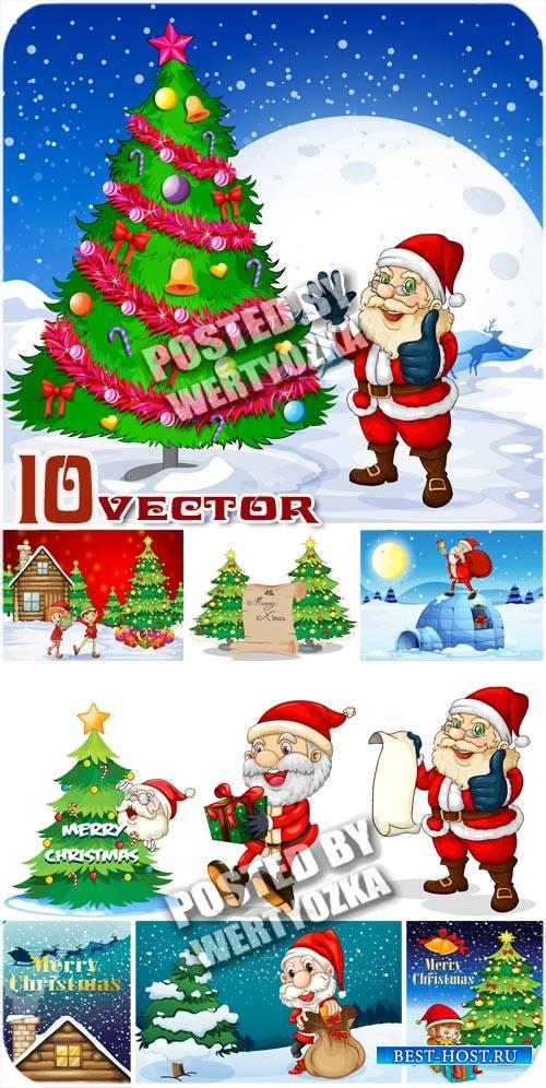 Санта клаус и елка / Santa Claus and Christmas tree - stock vector
