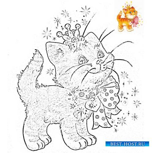 Раскраска для деток - Котенок с бантиком и в короне