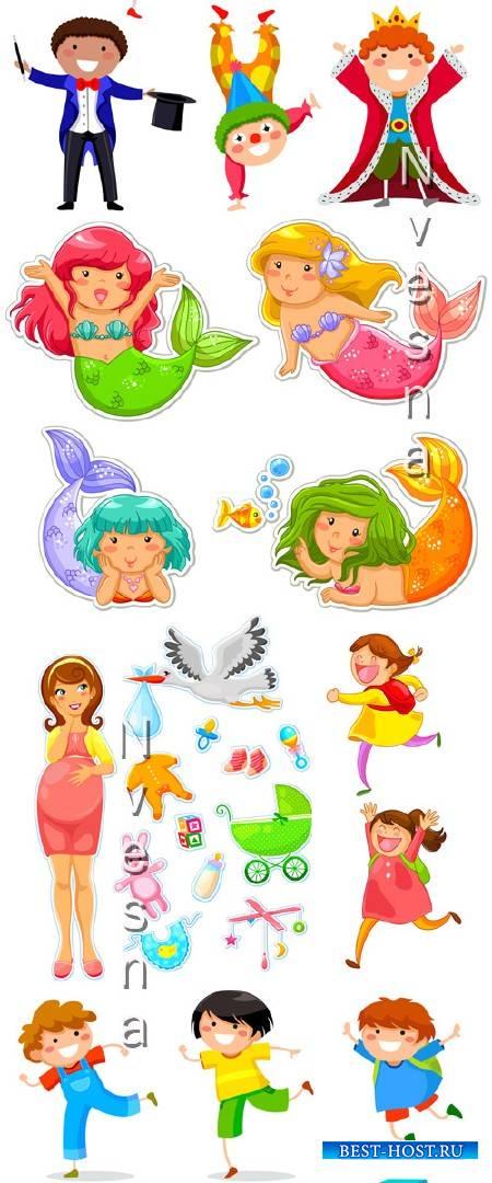 Русалки и игрушки в Векторе на белом фоне / Mermaids and toys in Vector
