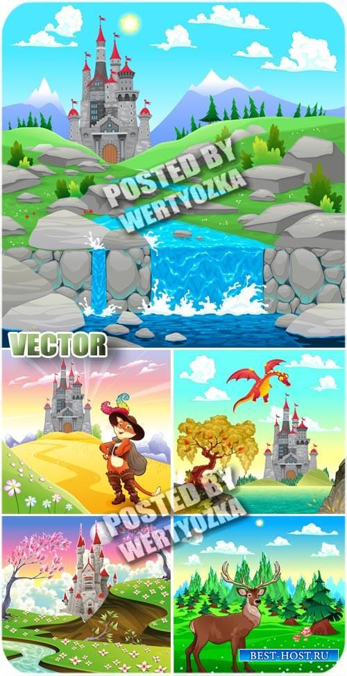 Сказочный замок и кот в сапогах / Fairy-tale castle - stock vector
