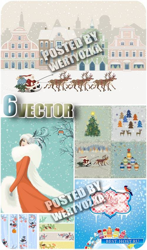 Зима, фоны и баннеры / Winter, backgrounds and banners - stock vector