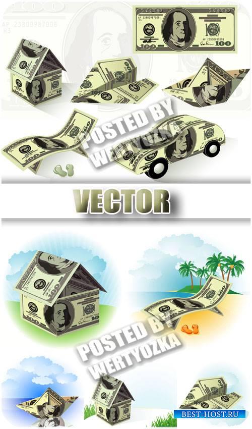 Деньги, доллары / Money, dollars - stock vector