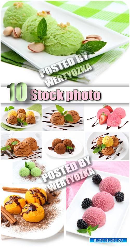 Мороженое, сорта мороженого, сладкое лакомство / Ice cream - stock photos