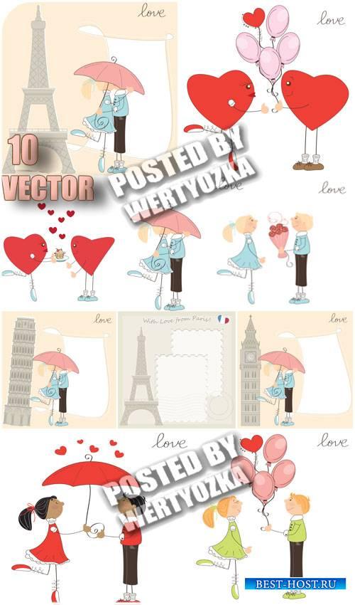 Романтическая пара и эйфелева башня / Romantic couple and the Eiffel Tower - stock vector