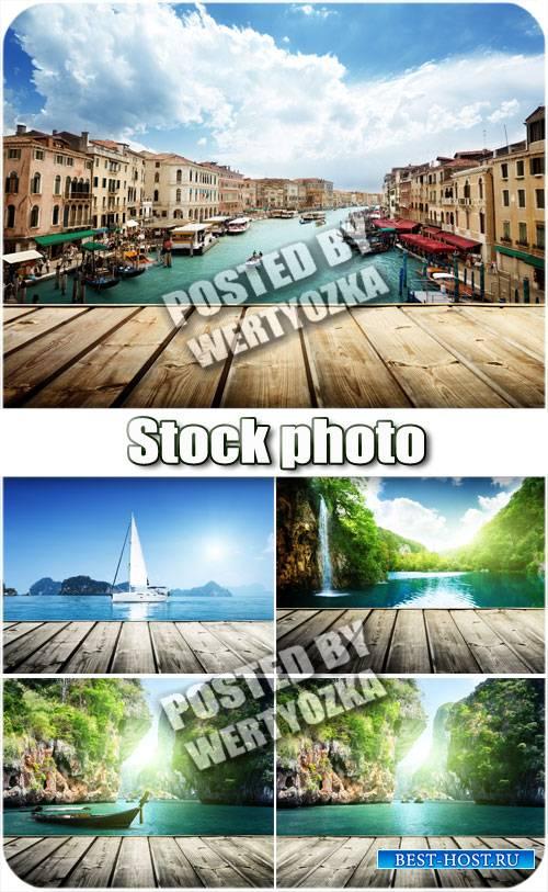 Водопады, фоны с водоемами / Waterfalls, water bodies backgrounds - stock p ...