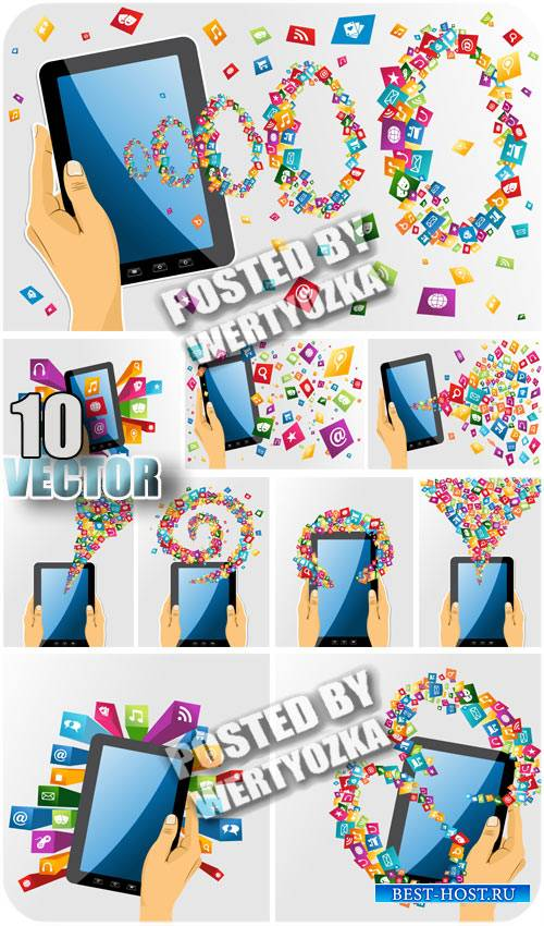 Планшет в руках / Tablet computer in hand - stock vector