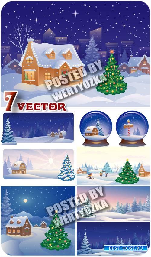 Зимние фоны с домиком и елкой / Winter background with a house and a tree - stock vector