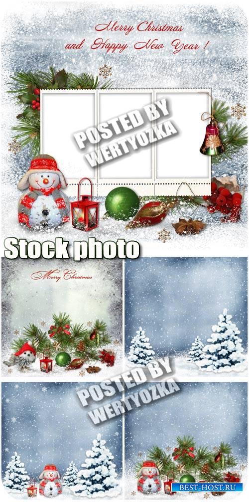 Новогодние фоны с елкой и снеговиком / Christmas background with christmas  ...