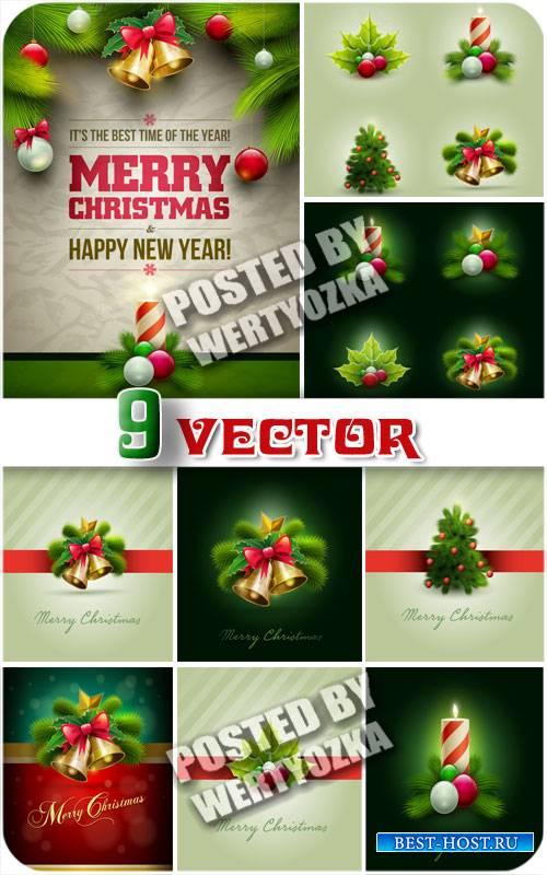 Рождественские фоны с елкой, колокольчиками и свечами / Christmas backgroun ...