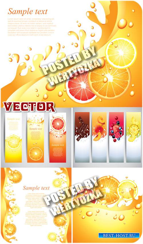 Баннеры, фоны с фруктами, цитрусовые / Banners, backgrounds with fruits - s ...