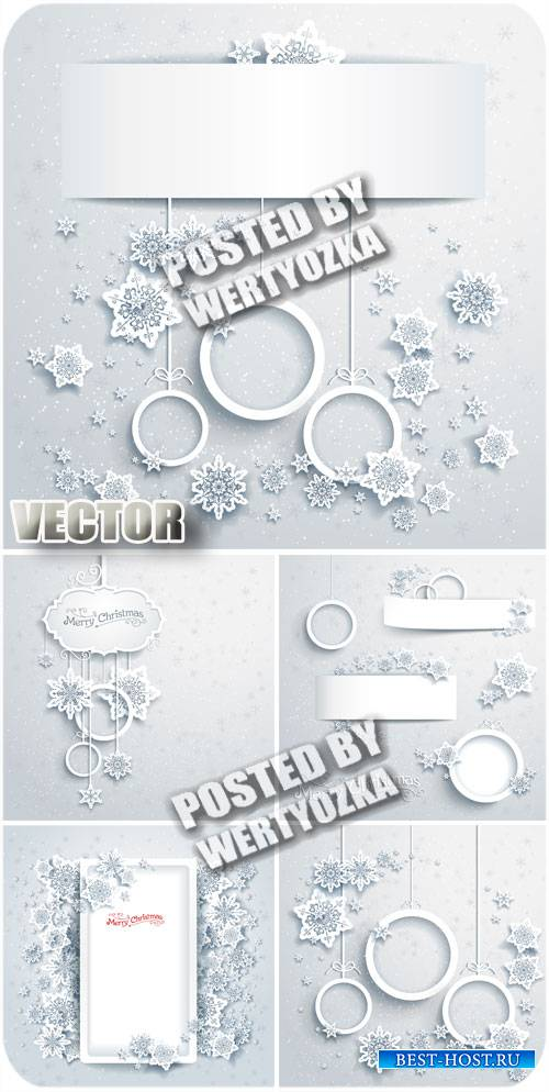 Зимние фоны с снежинками / Winter background with snowflakes - stock vector