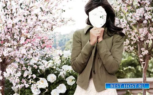 Брюнетка в цветущем саду - шаблон для фото