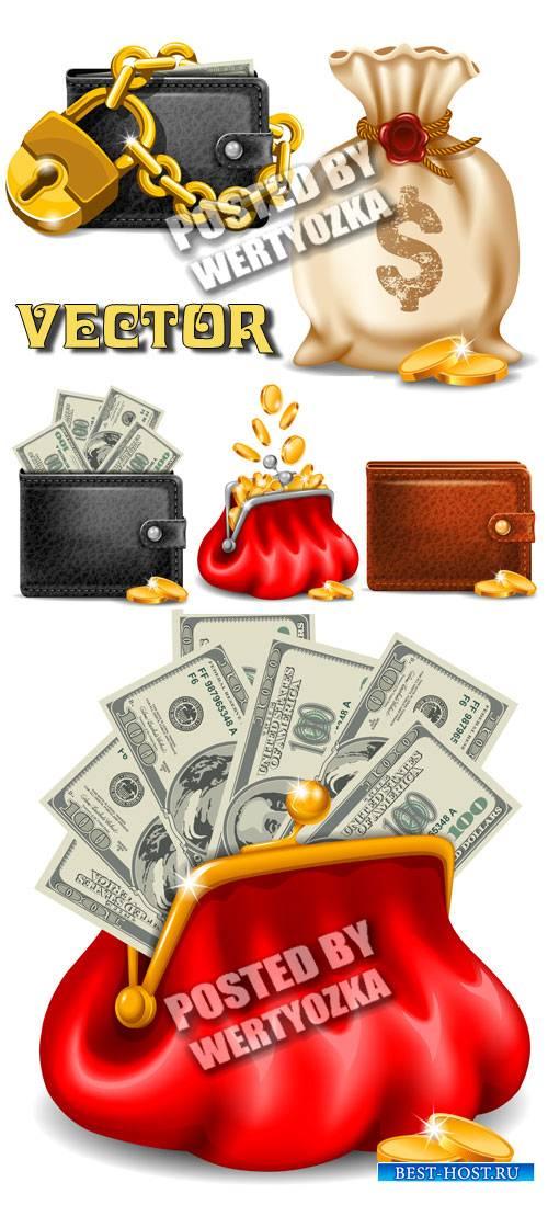 Кошелек с деньгами и золотыми монетами / Purse with money and gold coins - stock vector