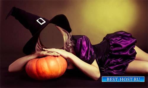 Шаблон для фото - Девушка в шляпе ведьмы отдыхает на тыкве