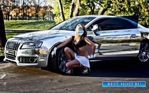 Шаблон для Photoshop - Роскошное авто и девушка