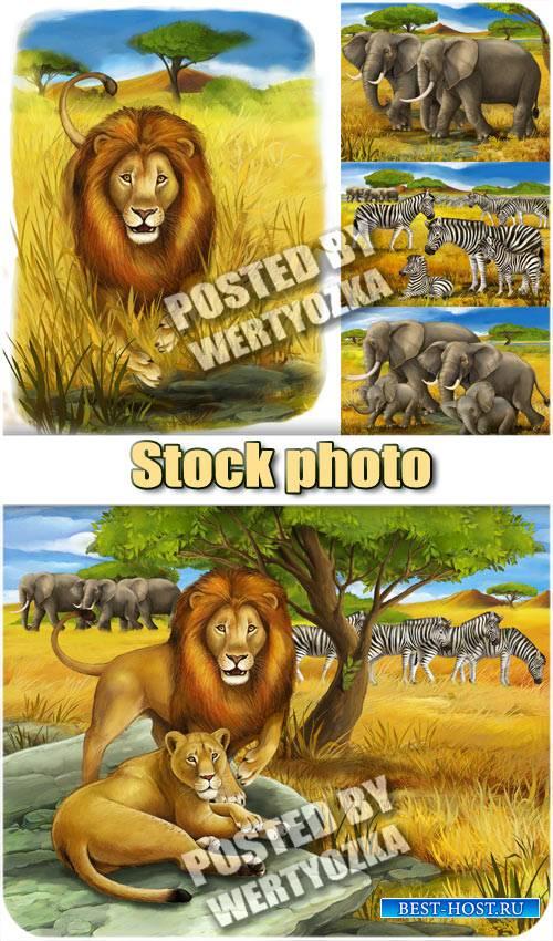Лев, слоны и зебры / Lion, elephant and zebra - stock photos
