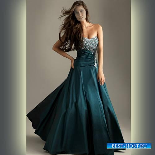 Шаблон женский - Девушка в сногшибательном платье с камнями