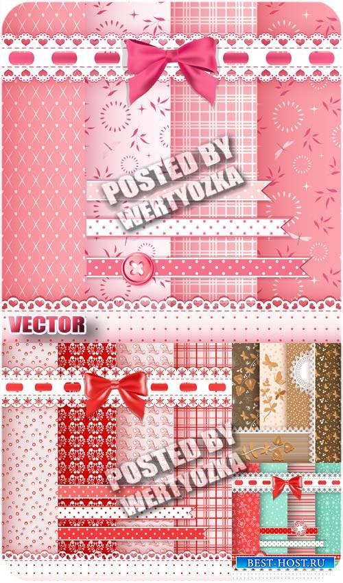 Розовые векторные фоны с узорами и цветами / Pink vector backgrounds with p ...