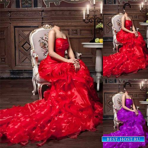 Шаблон для фото - Девушка сидя на кресле в ярком наряде