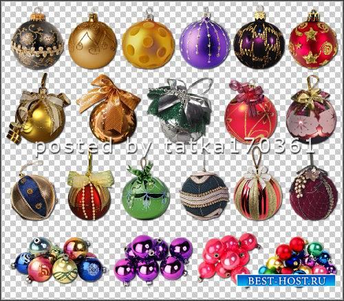 Клипарт для фотошопа - Разноцветные шарики для украшения новогодних работ