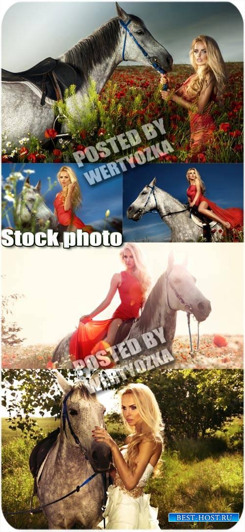 Девушка и лошадь / Girl and horse - stock photos