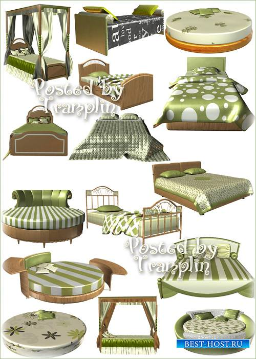 Кровати, диваны, кушетки в 3D на белом фоне