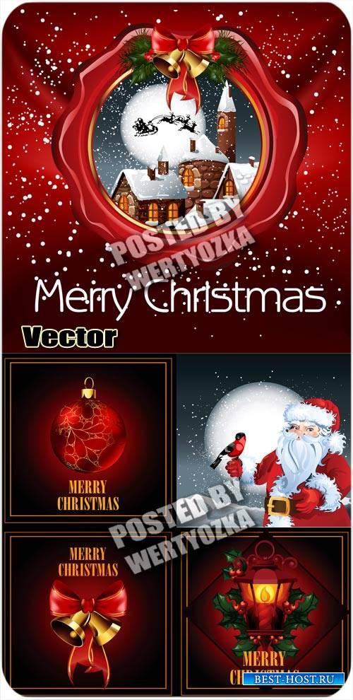 Красные векторные фоны с рождественскими элементами / Red vector background ...