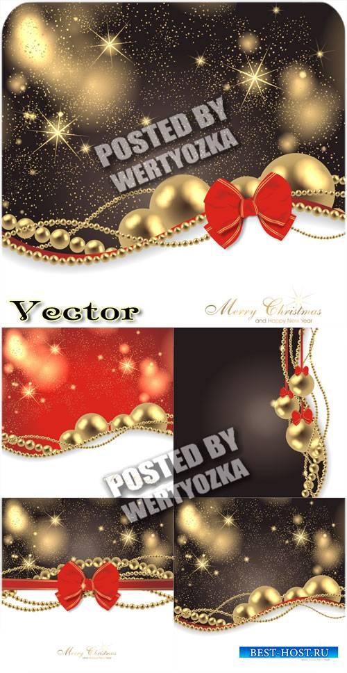Рождественские фоны с золотыми украшениями / Christmas background - vector