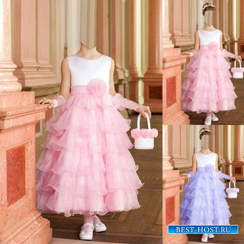 Шаблон для маленьких - Принцесса в пышном платье