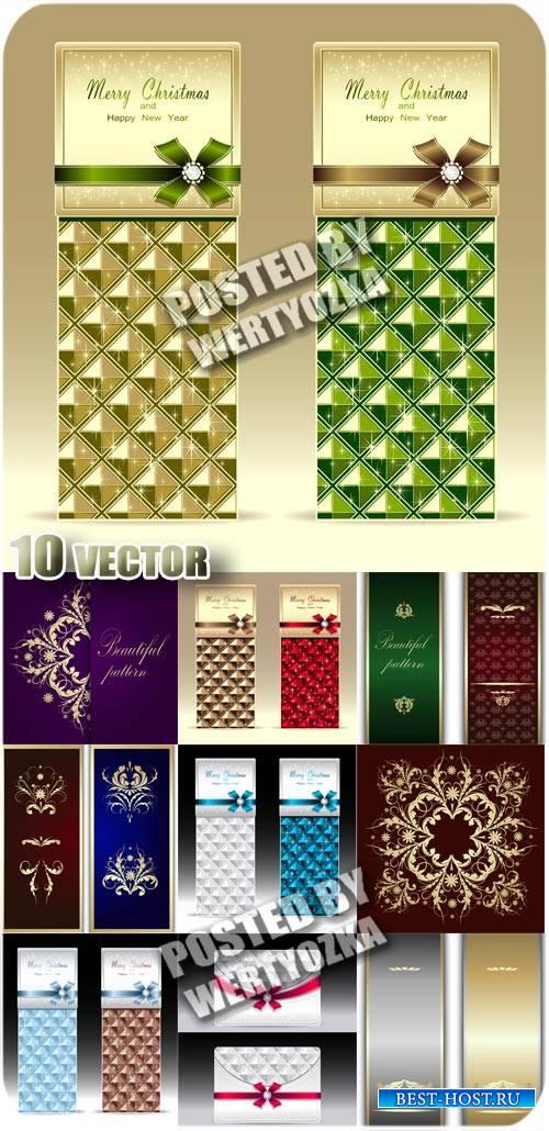 Рождественские карточки, фоны с узорами - вектор