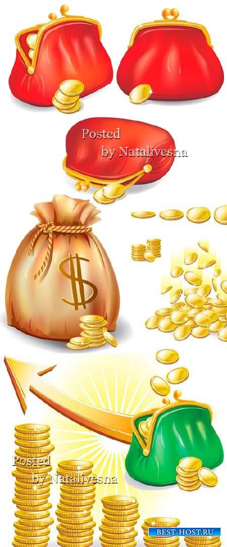 Монеты и денежный мешок в Векторе на белом фоне
