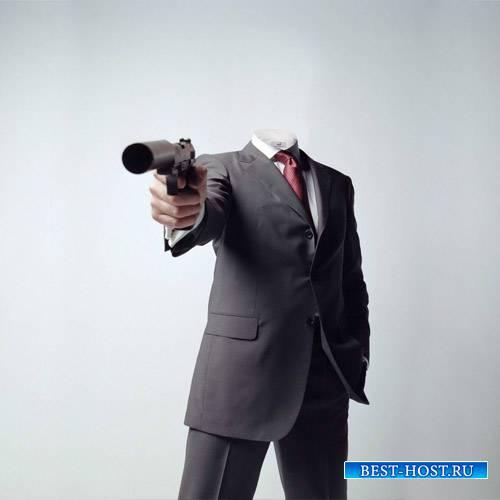 Мужской шаблон - Серьезный парень с оружием