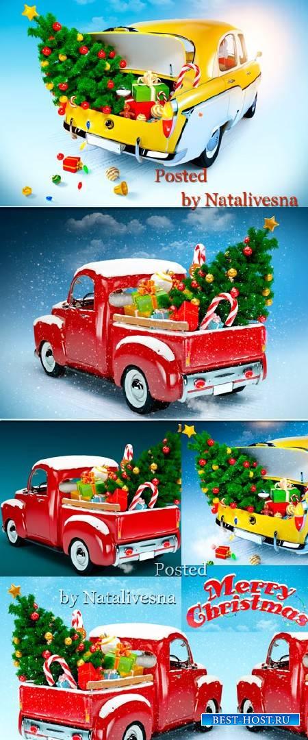 Рождественские фоны с авто и елочками