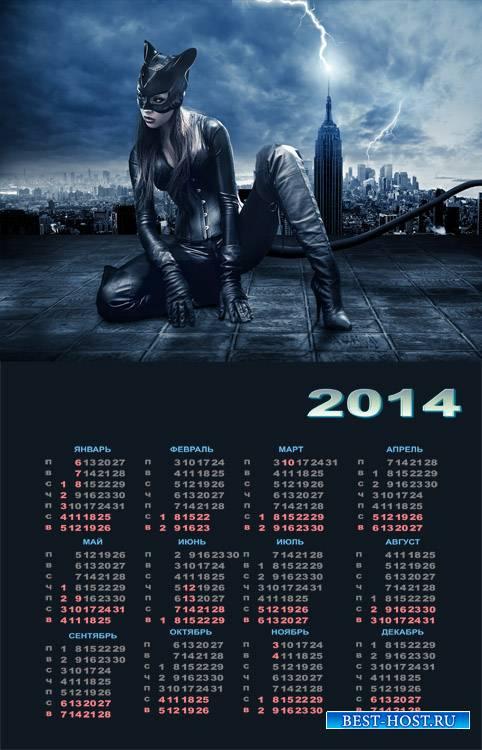 Календарь на 2014 год - Женщина кошка, охота