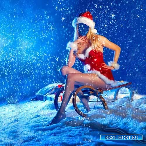 Шаблон для фото - Снегурочка на санях под снегом