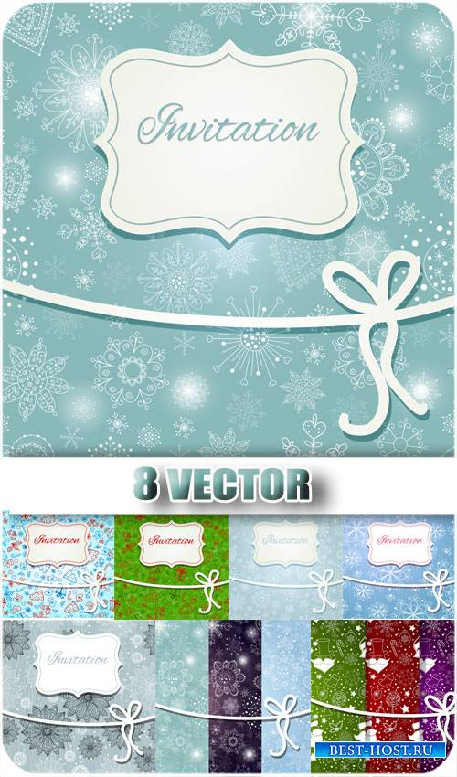 Зимние фоны с снежинками, рождество - вектор