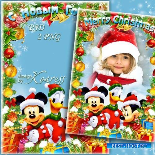 Детская фоторамка с героями Диснея - Веселый Новый год