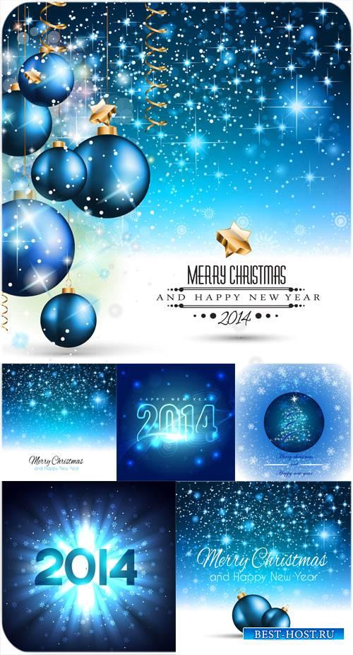 Синие рождественские шары, векторные фоны