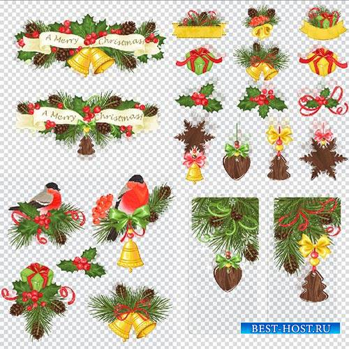 Клипарт - Новогодние украшения веточки с шишками и снегирём на прозрачном ф ...