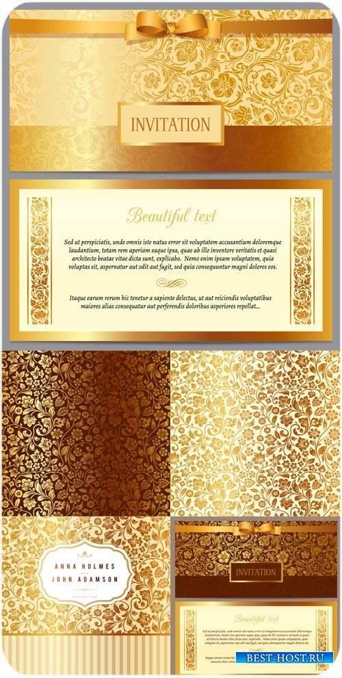 Приглашения в векторе, золотые цветочные узоры
