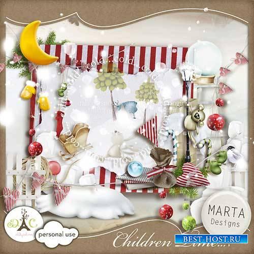 Детский зимний скрап-комплект - Детское время