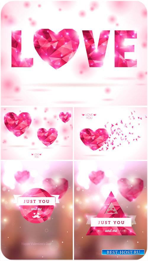 Любовь, сердечки из драгоценного камня в векторе