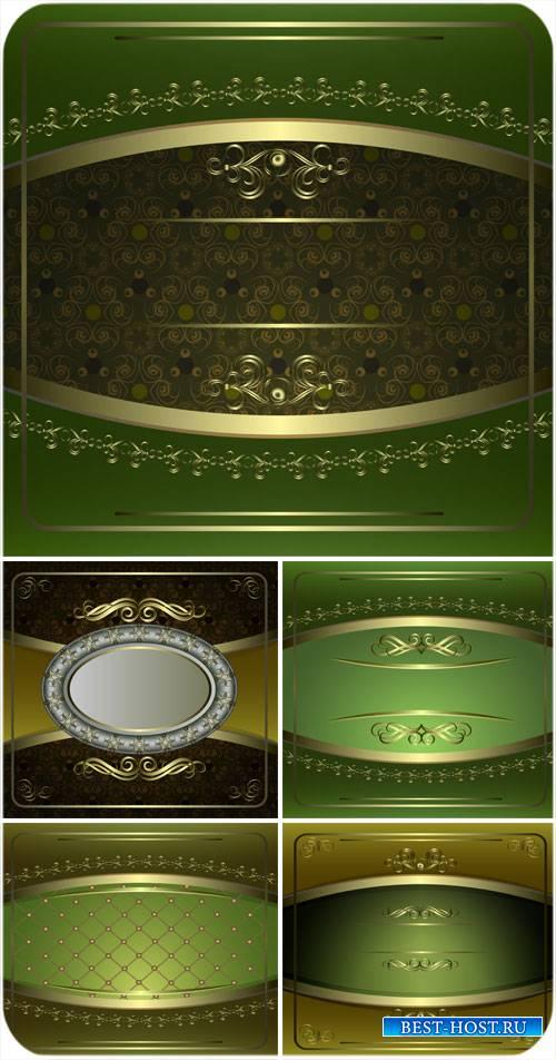 Зеленые векторные фоны с винтажными золотыми узорами